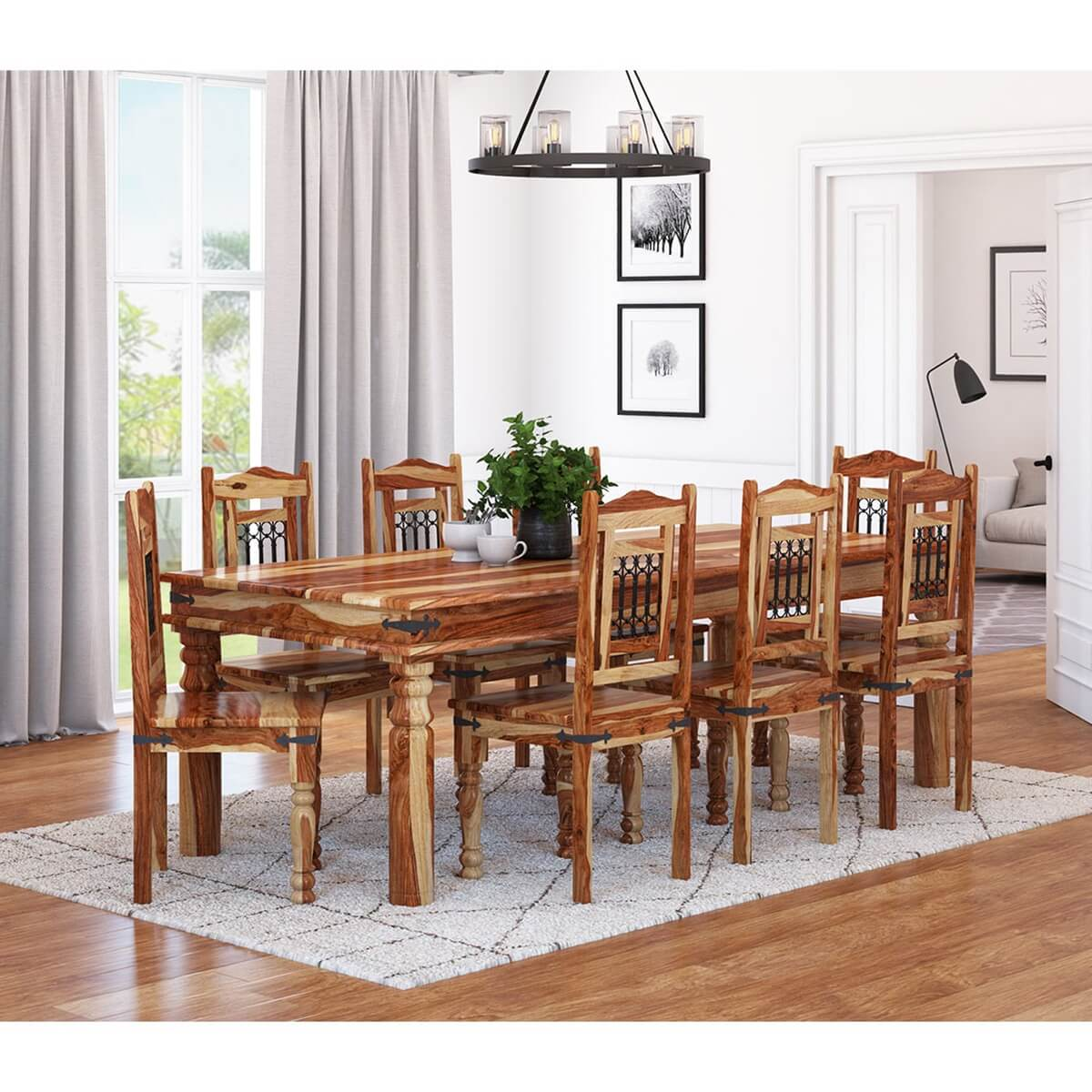 Picture of: Dallas Classic Solid Wood Rustic Dining Room Table And Chair Set