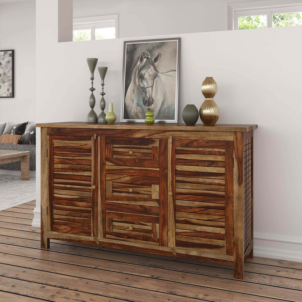 Bedford Handcrafted Rustic Solid Wood 3 Drawer Large Sideboard Cabinet