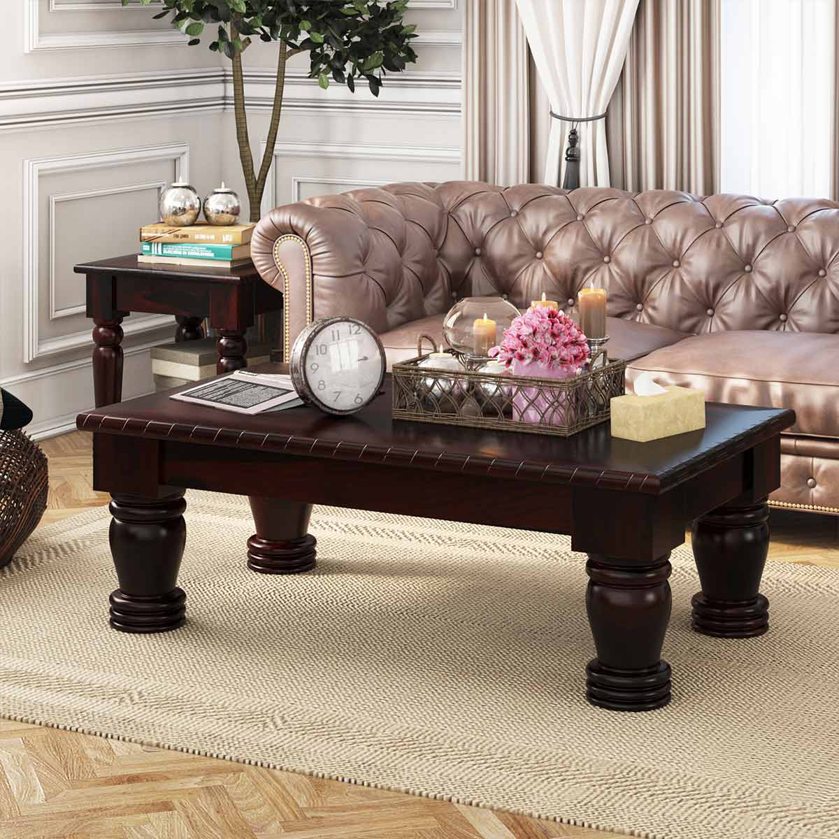 Vallecito Country Style Rustic Solid Wood Large Coffee Table