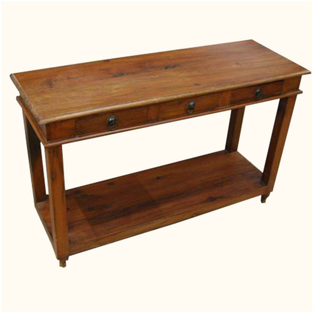 Solid Wood Entry Sofa Hall Console Foyer Table w 3 Drawers