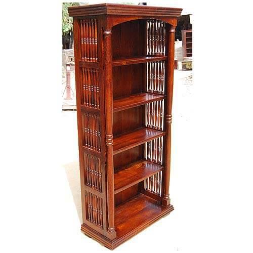 Orinda 5 Open Shelf Solid Wood Rustic Bookcase