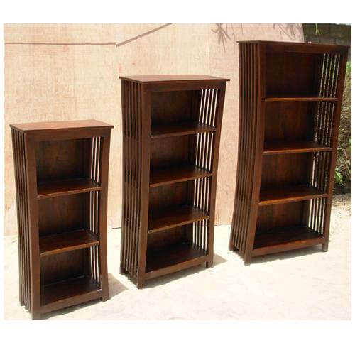 Large Wood Mission Style Rustic Home Office Bookcase Display Rack
