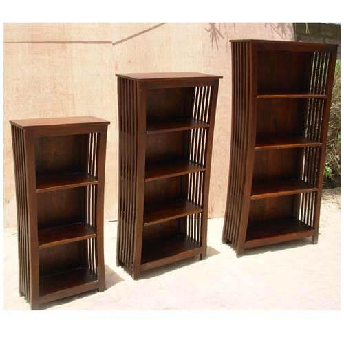 Covina 3, 4 Open Shelf Rustic Solid Wood Bookcase (Set Of 3)
