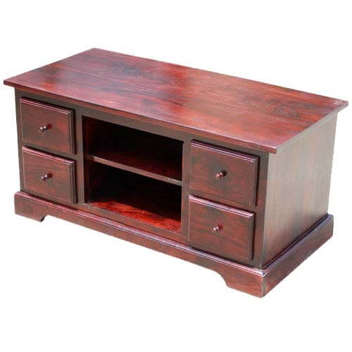 Lincoln Study 4 Drawer Cherry Rustic TV Stand Media Console