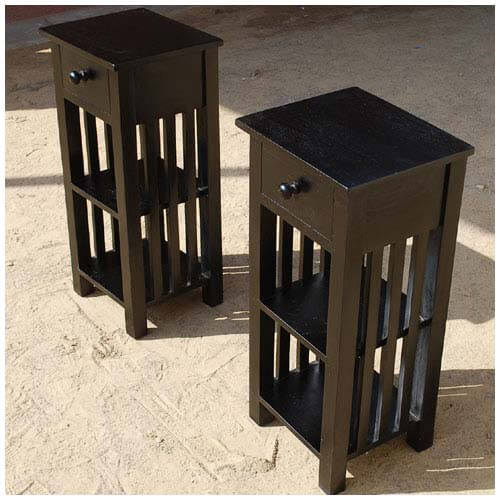 Lincoln Study Solid Wood 1 Drawer Side End Table Set of 2
