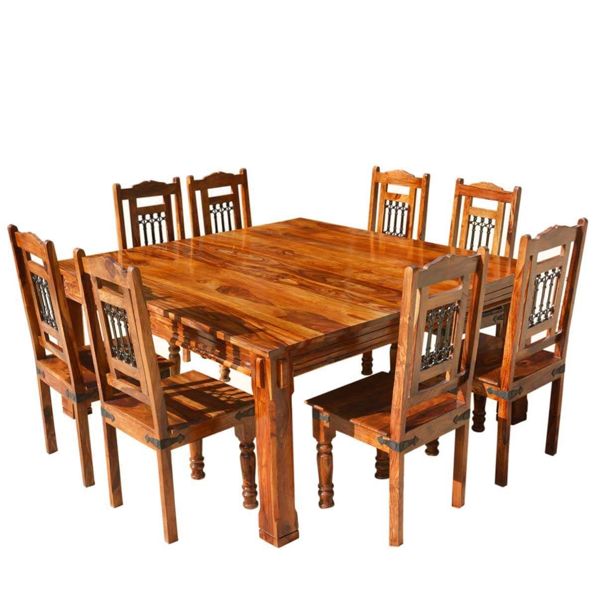 Solid Wood Rustic Square Dining Table Chairs Set Transitional Style