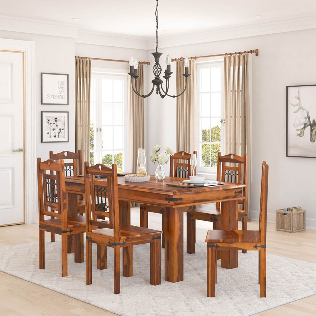 Philadelphia Classic 7pc Transitional Dining Room Table And Chair Set Hover To Zoom