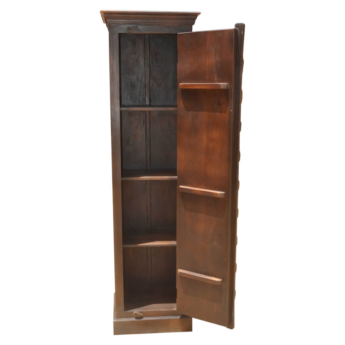 Rustic Solid Wood Brass Accent Narrow Armoire Cabinet With ...