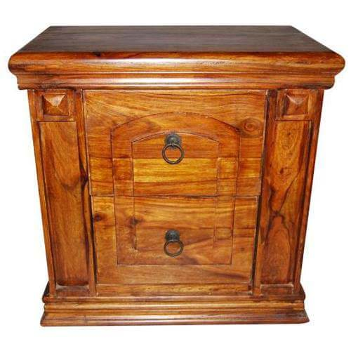 Solid Wood 2 Drawer End Nightstand Bedside Table