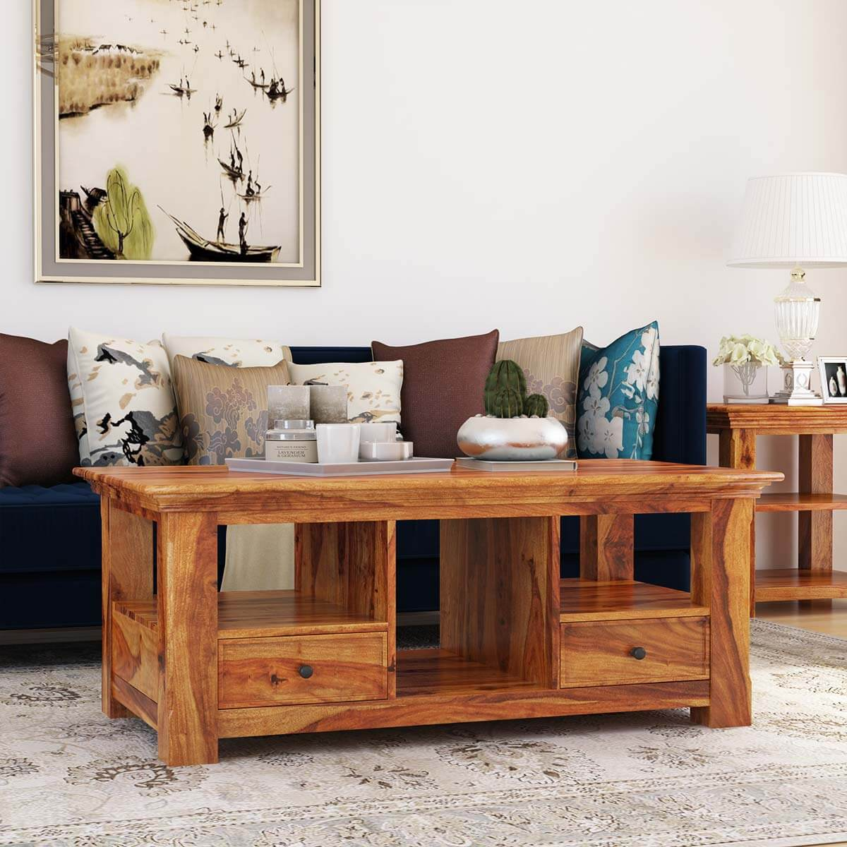 Priscus Midcentury Modern Style Solid Wood Rustic Coffee Table