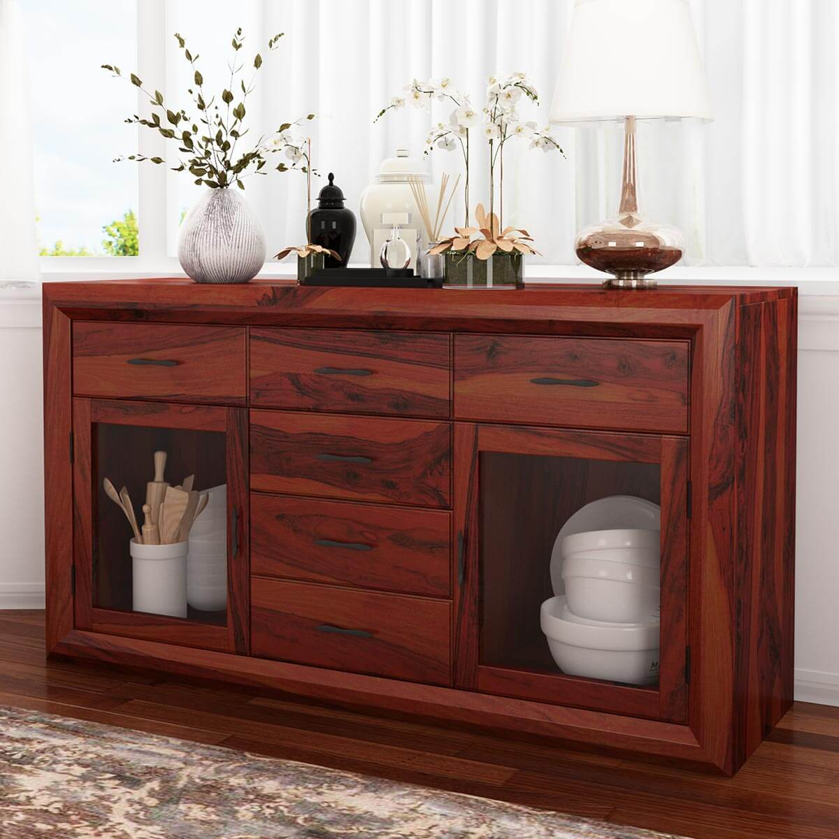 Minsk Traditional Rustic Rosewood Glass Door 6 Drawer Large Sideboard