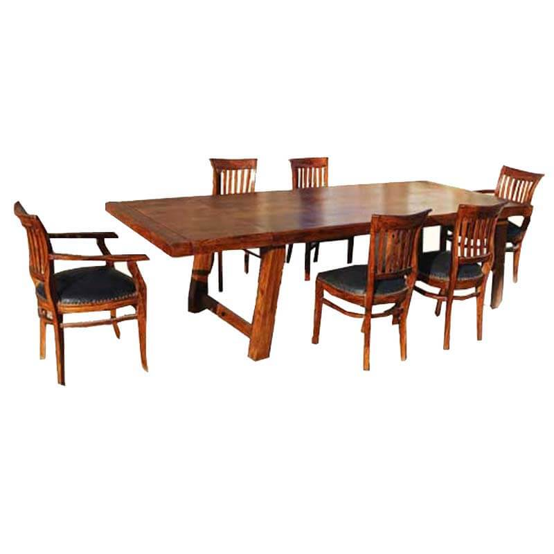 Sierra Contemporary Barrel-Back Chairs Dining Table Set w Extension