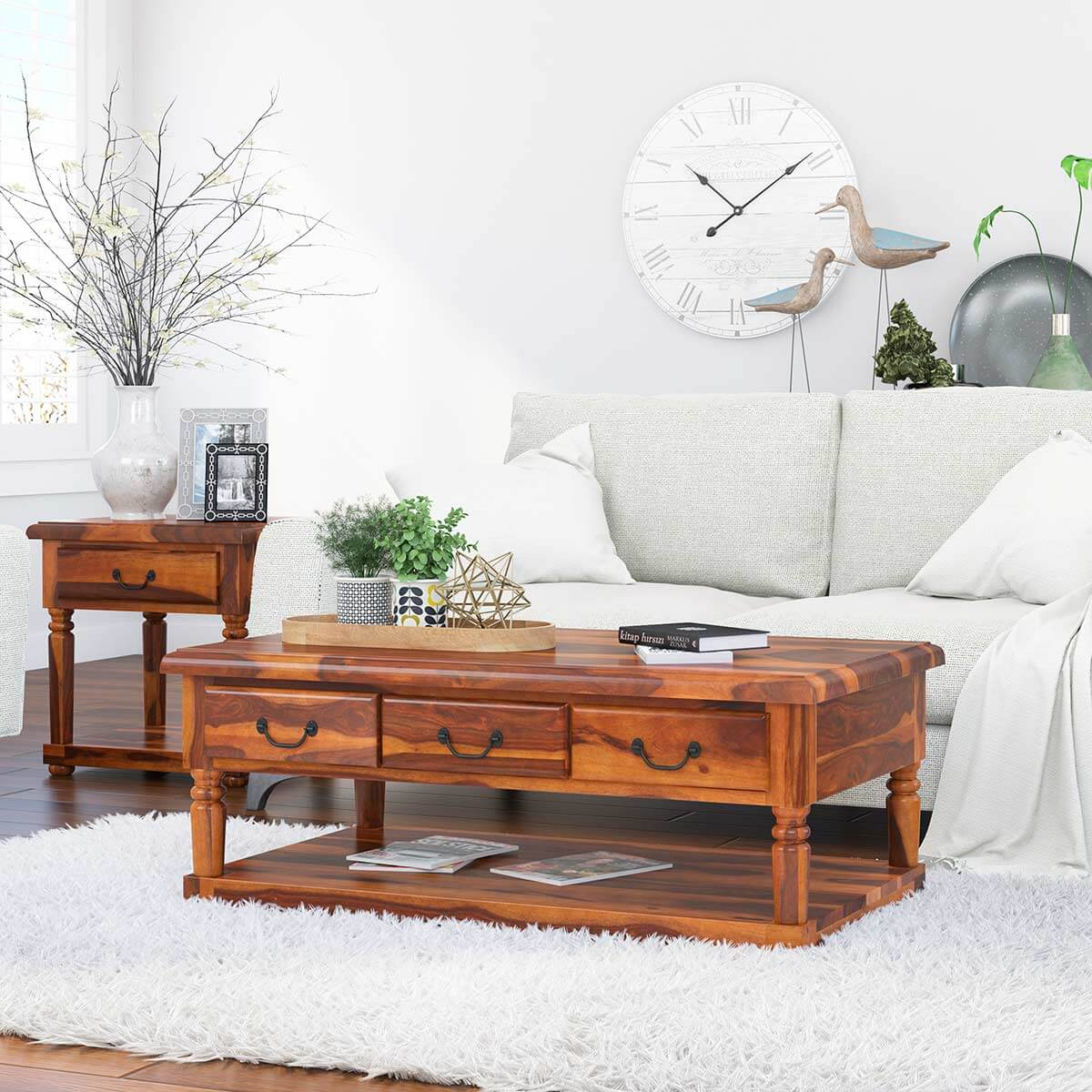 Bakersfield Solid Wood Baluster Coffee Table With 3 Drawer