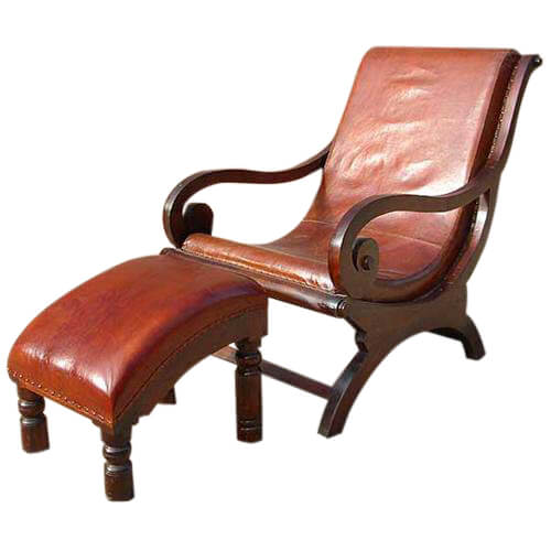Fabulous Solid Wood Leather Recliner Lounge Chair Footstool Set Spiritservingveterans Wood Chair Design Ideas Spiritservingveteransorg