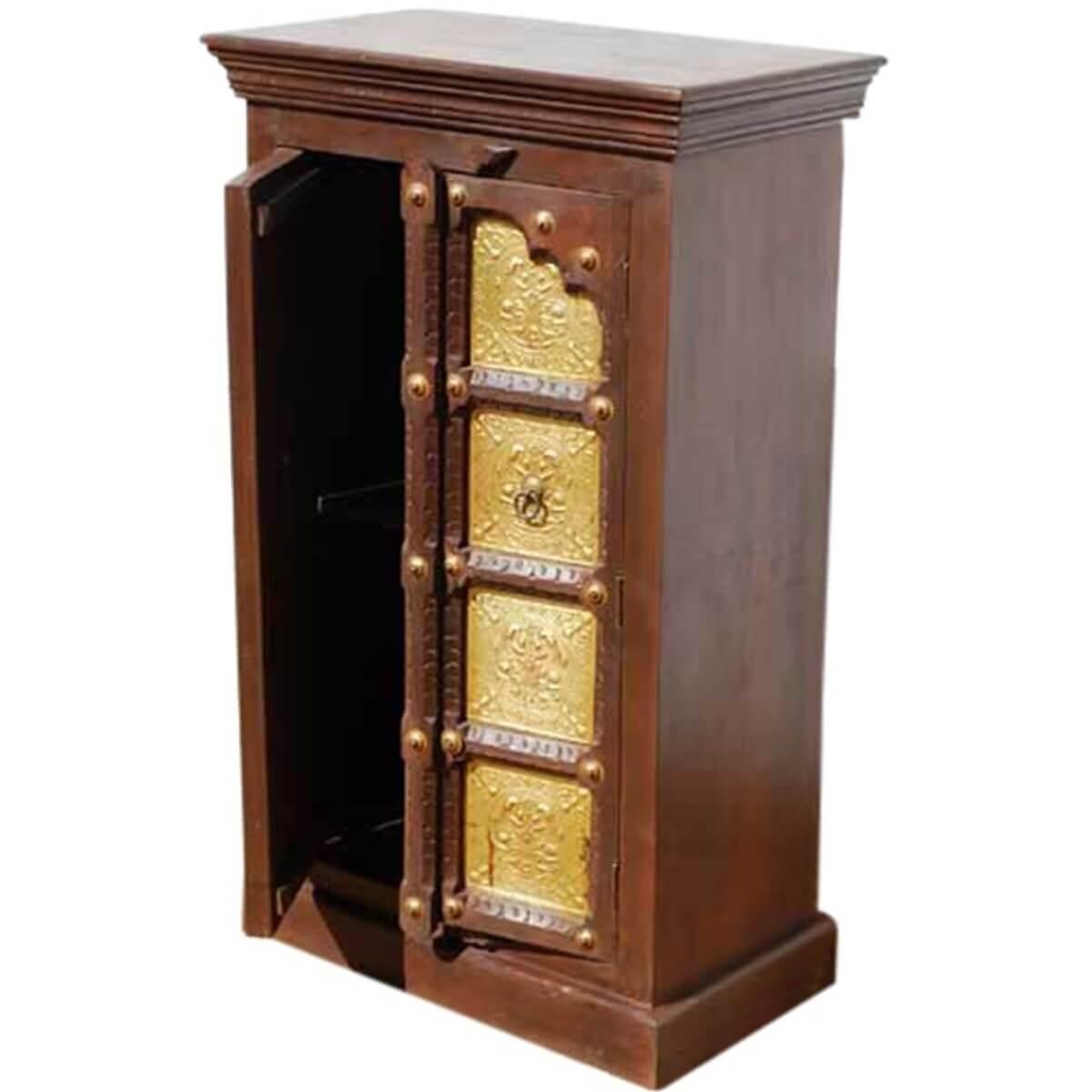 Wood Brass Accents Door Armoire Storage Kitchen Cabinet