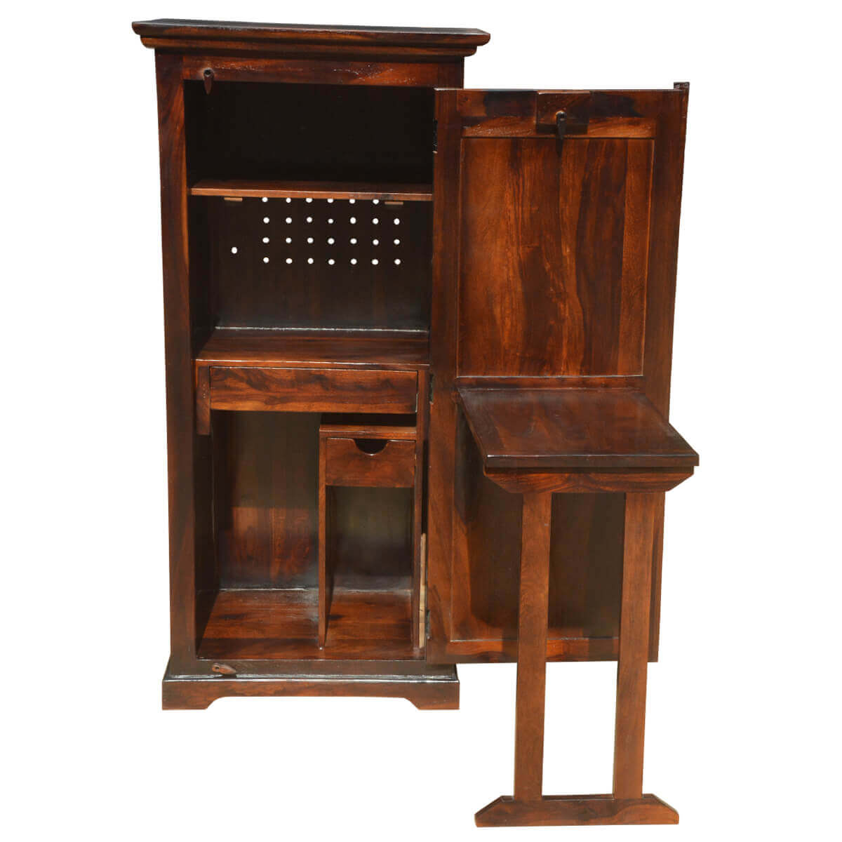 Desk Cabinet: Space Saving Solid Wood Folding Computer Desk With Storage
