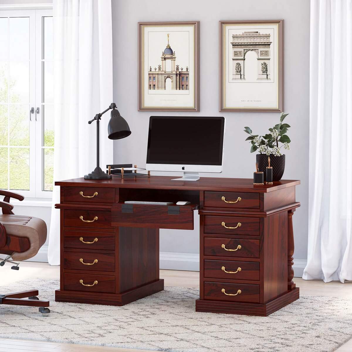 Rustic Solid Wood Home Office Executive Computer Desk With