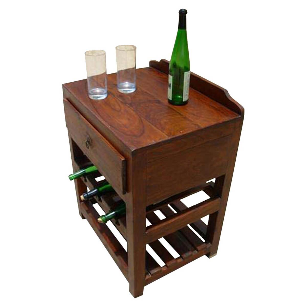 Coffee Table Wine Rack.Varela Solid Wood Wine Rack Single Drawer Side Table