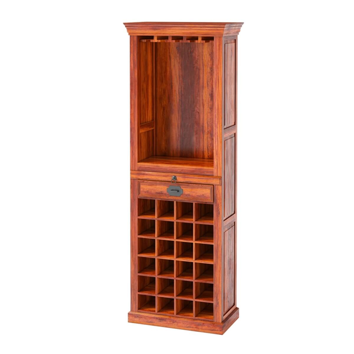 Lovedale Rustic Mango Wood 72 Quot Tall Tower Bar Cabinet With
