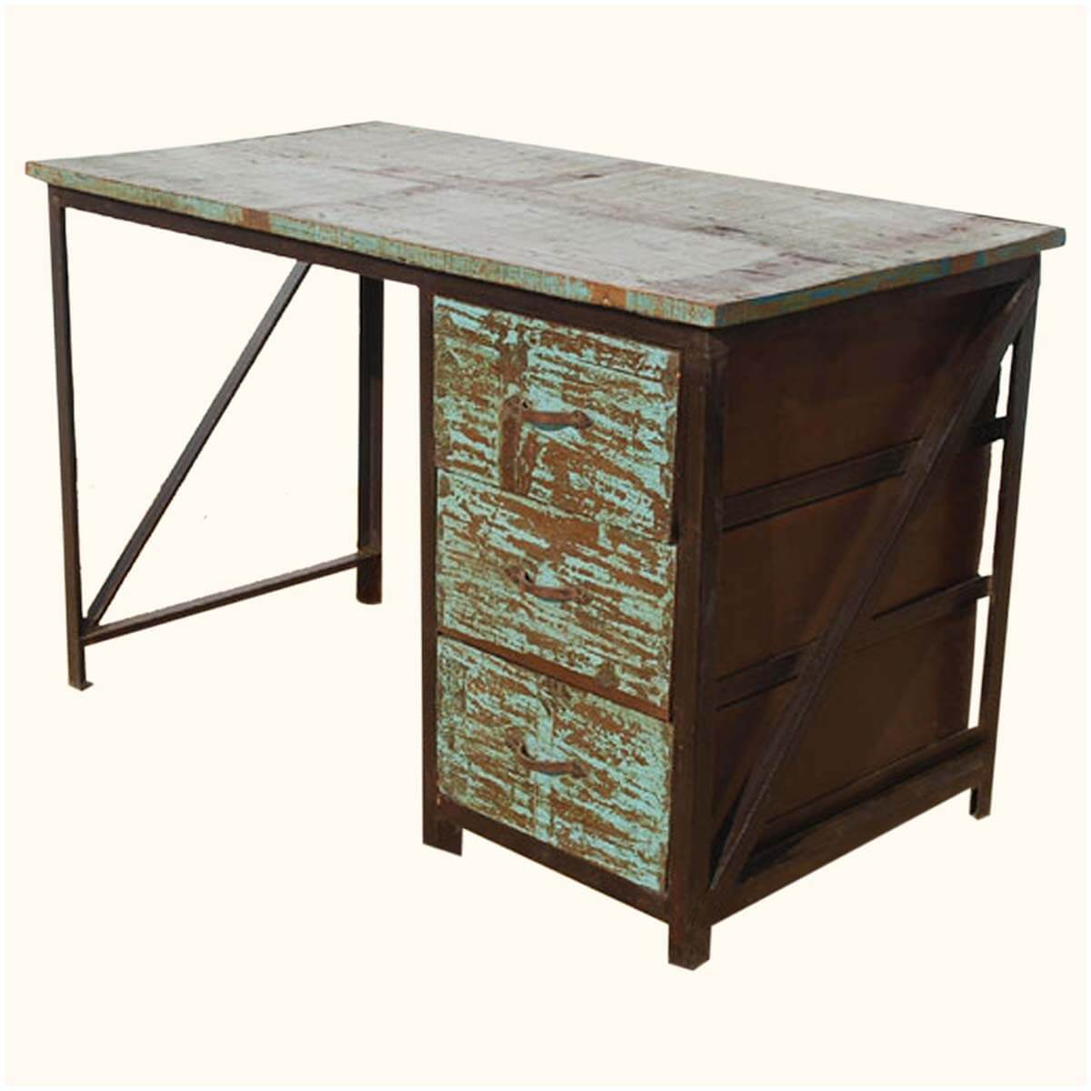 Appalachian Industrial Metal Reclaimed Wood 3-Drawer Pedestal Desk