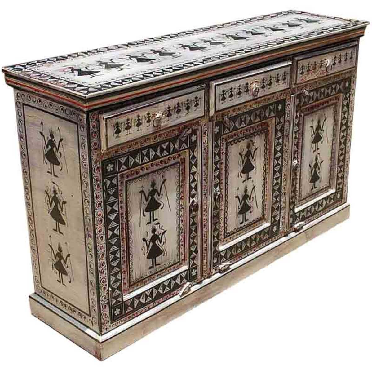 Tribal Black White Hand Painted Solid Wood 3 Drawer Buffet Cabinet