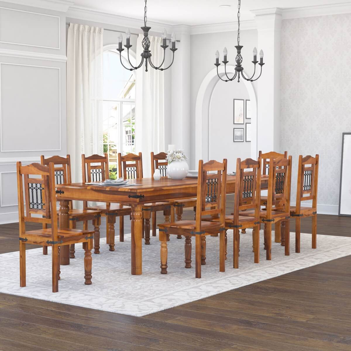 San Francisco Rustic Furniture Large Dining Table with 10 Chairs Set