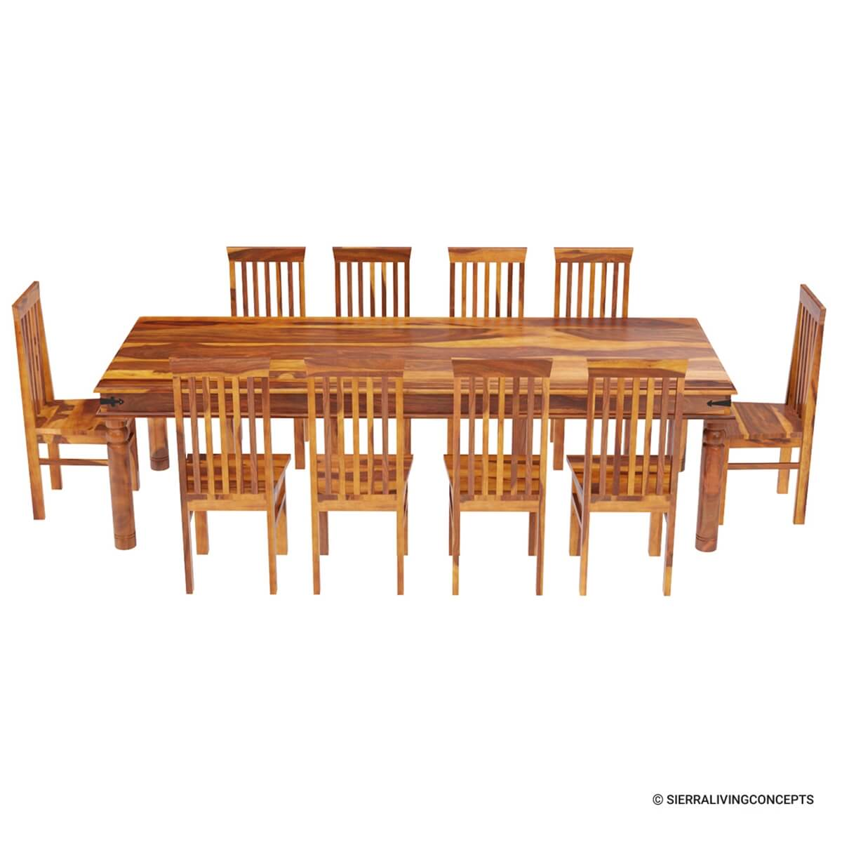 Wide Dining Room Tables: Rustic Lincoln Study Large Dining Room Table Chair Set For