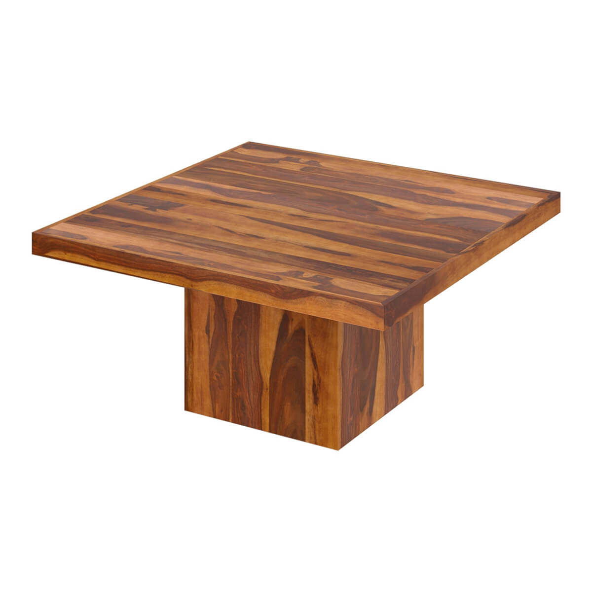 Brocton Solid Wood Modern Rustic Block Pedestal Square Dining Table