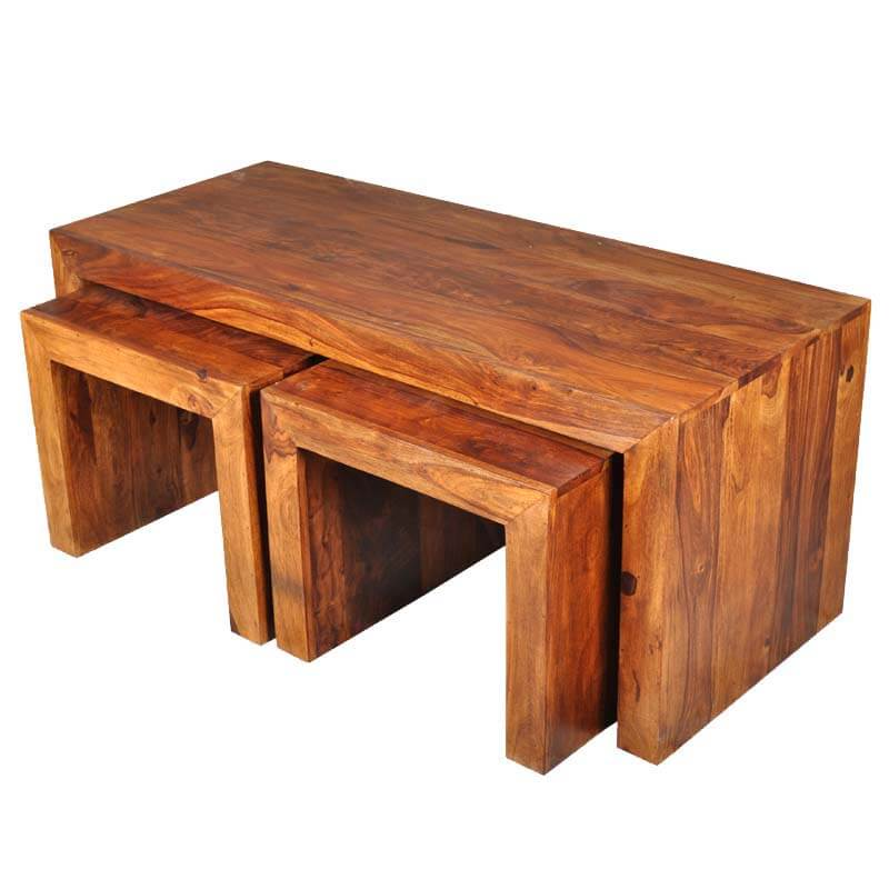 Santa Fe 3 Sided Coffee & Accent Tables 3pc Set
