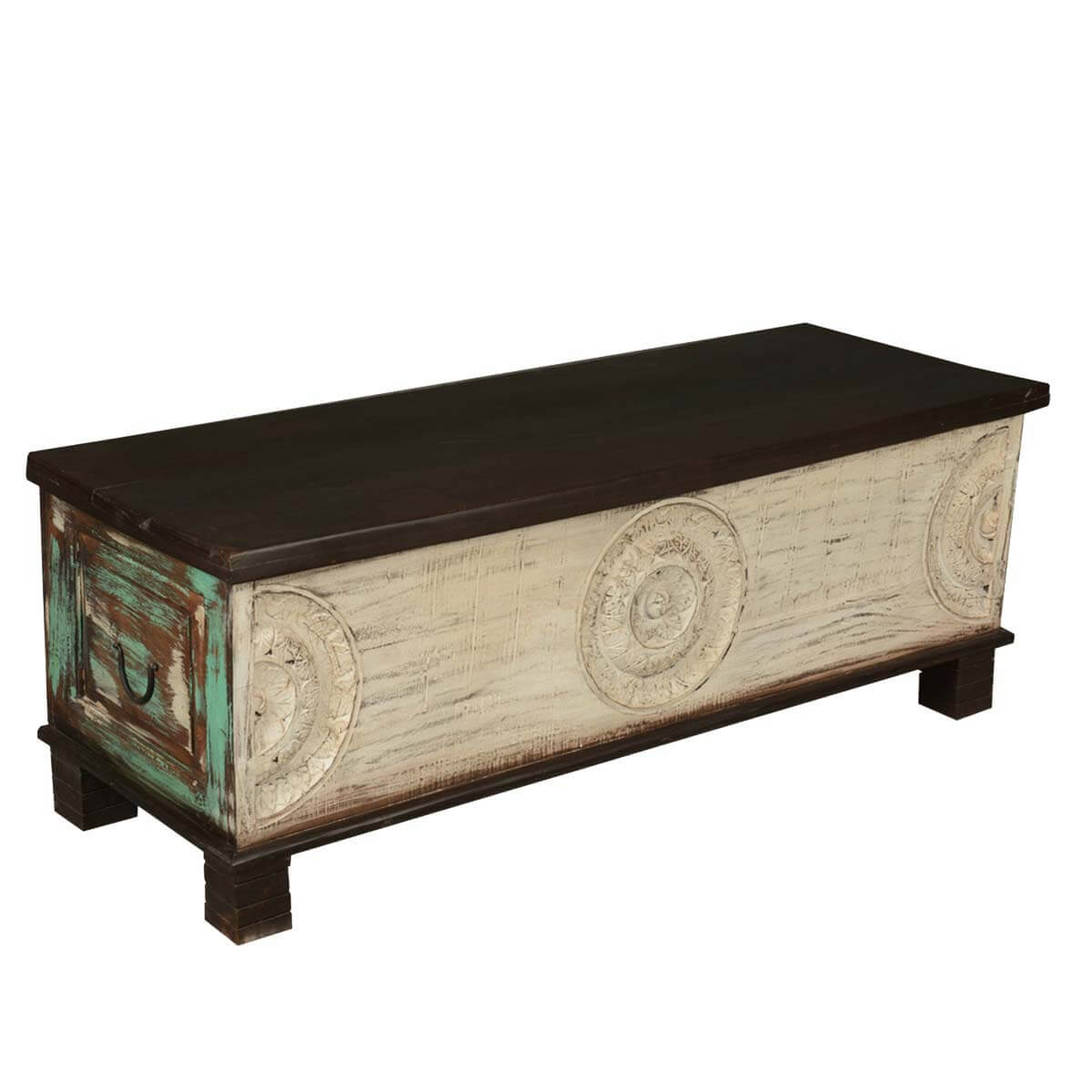 Mediterranean Hand Carved Painted Coffee Table Chest w Legs