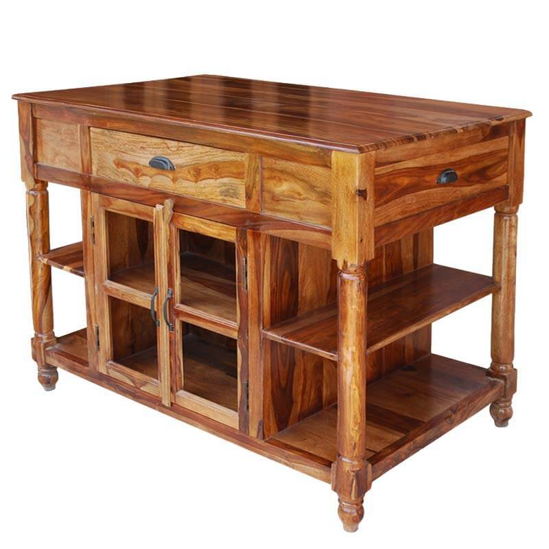 Lincoln Study 4-Sided Solid Wood Cabinet Kitchen Island