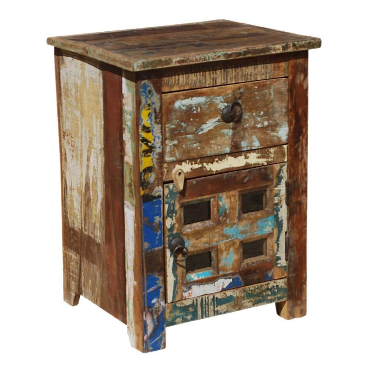 Alvan Distressed Reclaimed Wood 1 Drawer Nightstand