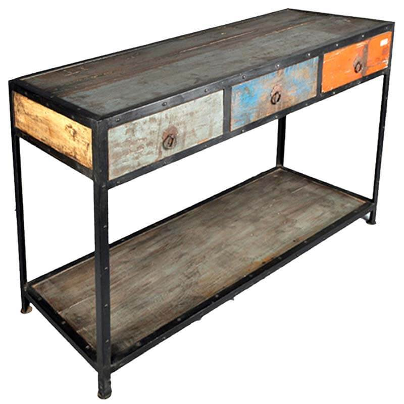 Stoneford Reclaimed Wood 3 Drawer Industrial Hall Console Table