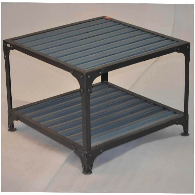 Industrial Blue Iron Square 2 Tier End Table
