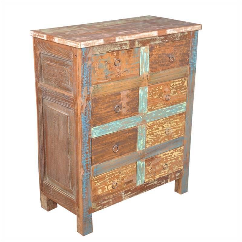 Oklahoma Farmhouse Reclaimed Wood Storage 8 Drawer Dresser