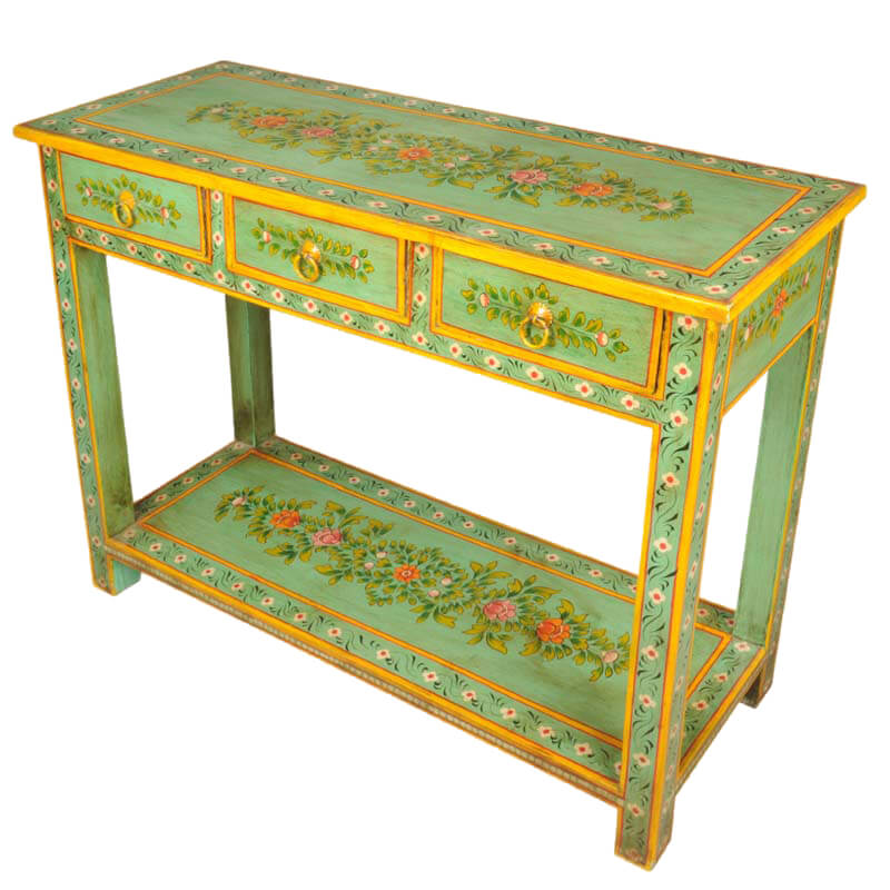 Spring Garden Hand Painted Tropical Hardwood Console Table