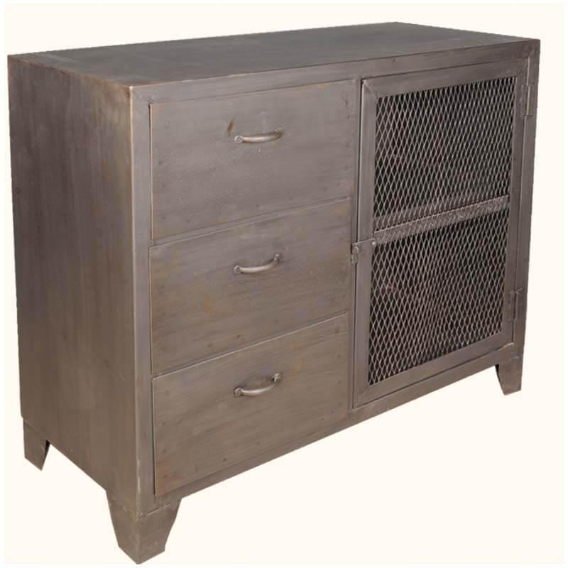 Worcester Iron Mesh Door 3 Drawer Industrial Buffet Cabinet