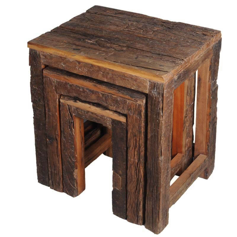 Appalachian Rustic Reclaimed Wood Railroad Ties 3 Stacking Tables