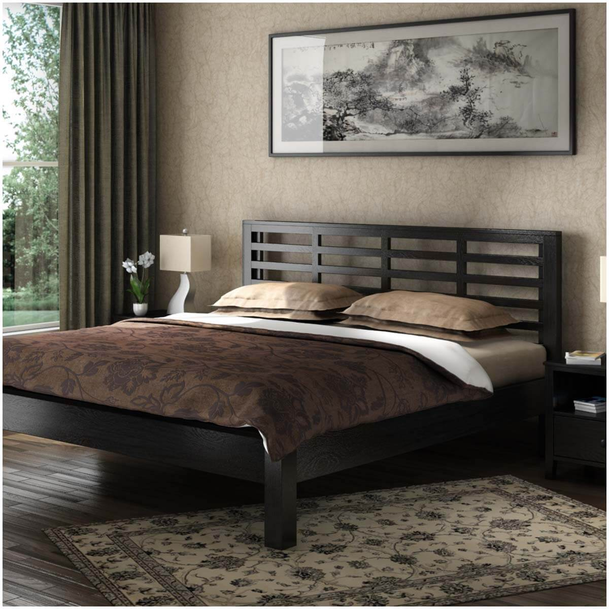 Modern Midnight Solid Wood Platform Bed Frame