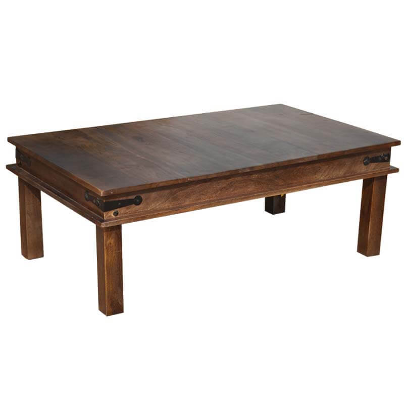 Expresso Coffee Table.Solid Wood Espresso Coffee Table W Wrought Iron Hinges