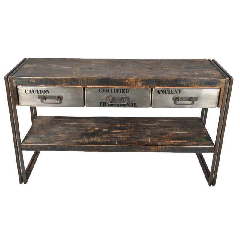 Industrial Museum 3 Drawer Reclaimed Wood & Iron Hall Console Table