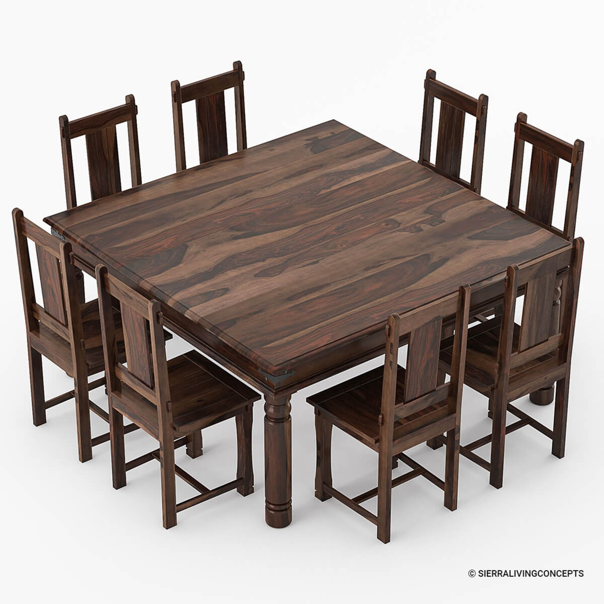 Rustic Solid Wood Farmhouse Dining Room Table Chair Set: Richmond Rustic Solid Wood Large Square Dining Room Table