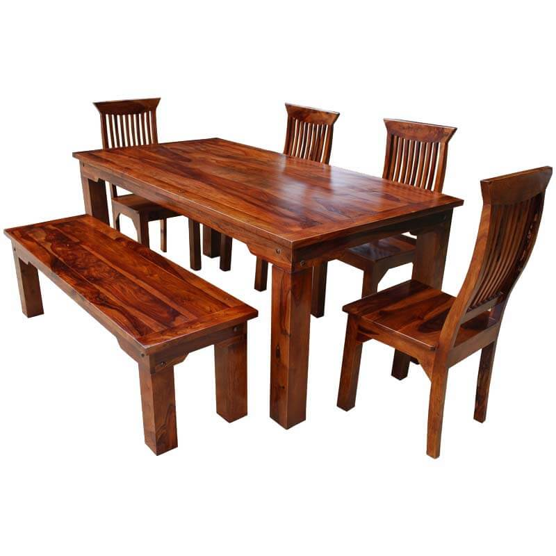 Casual Dining Tables And Chairs: Rustic Solid Wood Casual Dining Table Chair Set W Bench