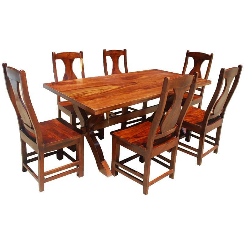 7 Piece Solid Wood Dining Set