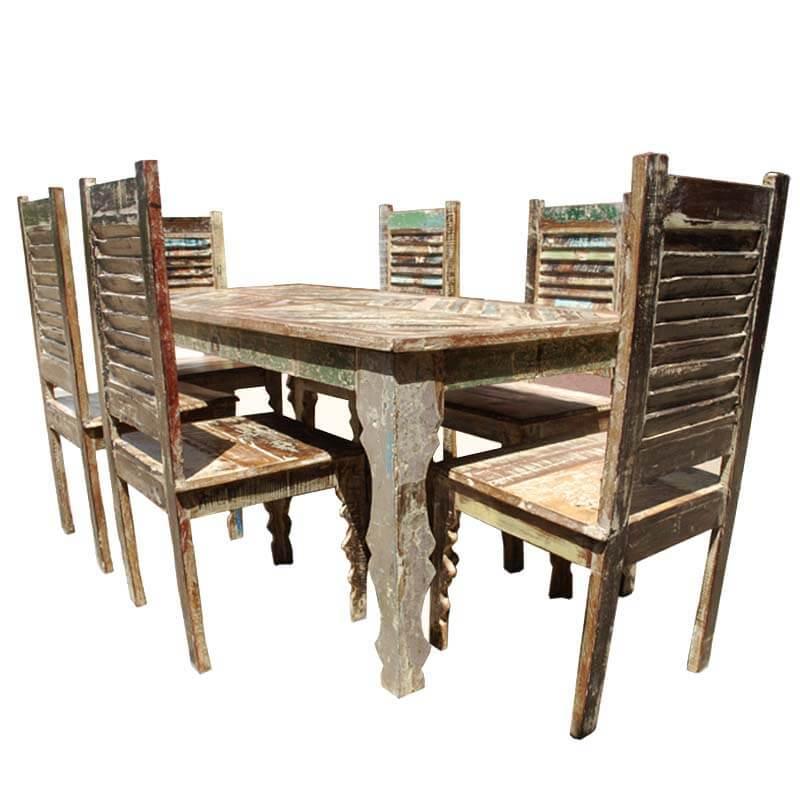 Tucson Rainbow Reclaimed Wood Dining Table Shutter Back Chair Set