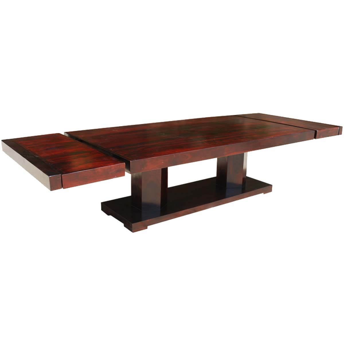 Large Rustic Solid Wood Double Pedestal Extendable Dining Table