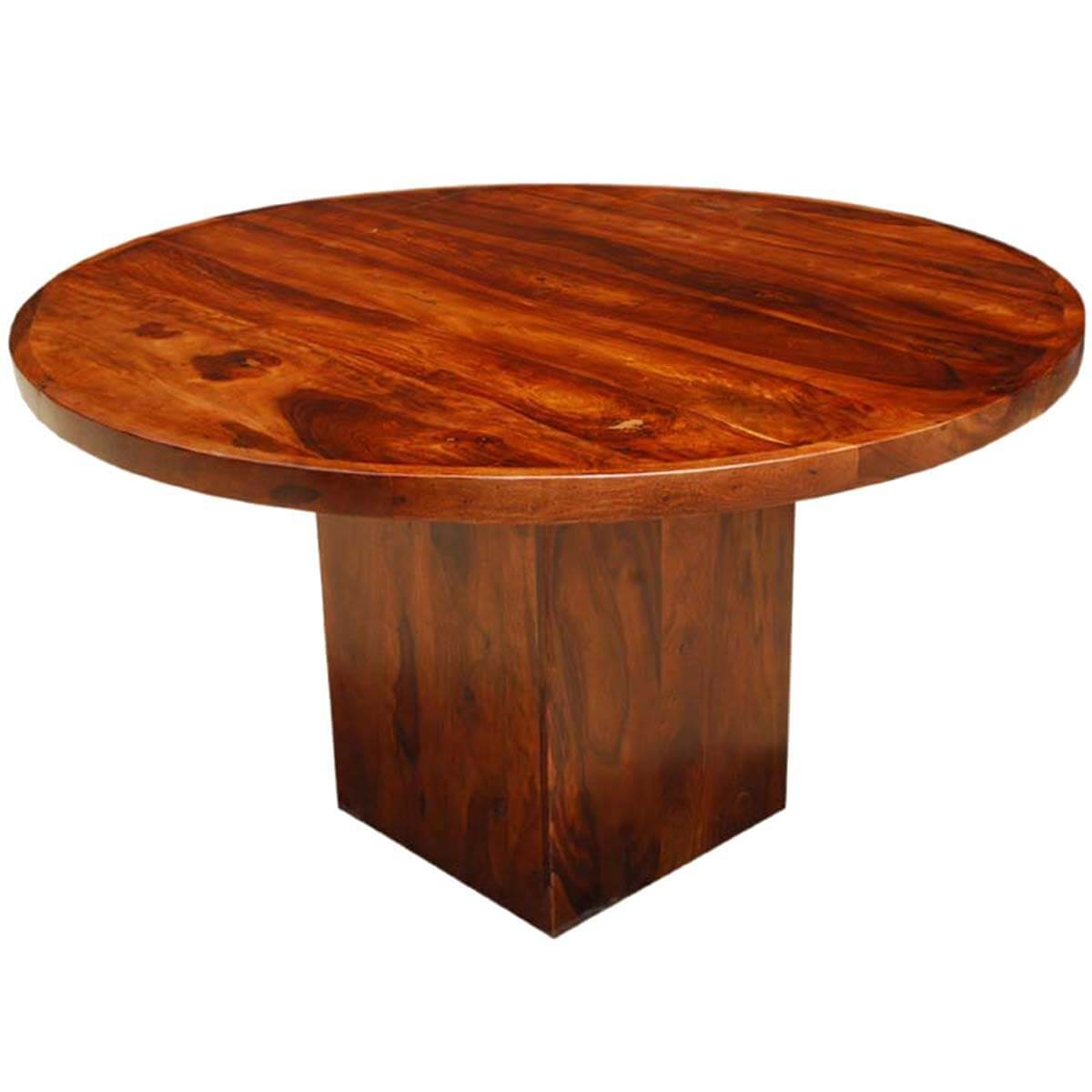 Amish Rustic Plank Top Dining Set Round Pedestal Solid: Solid Wood Rustic Round Dining Table W Square Pedestal