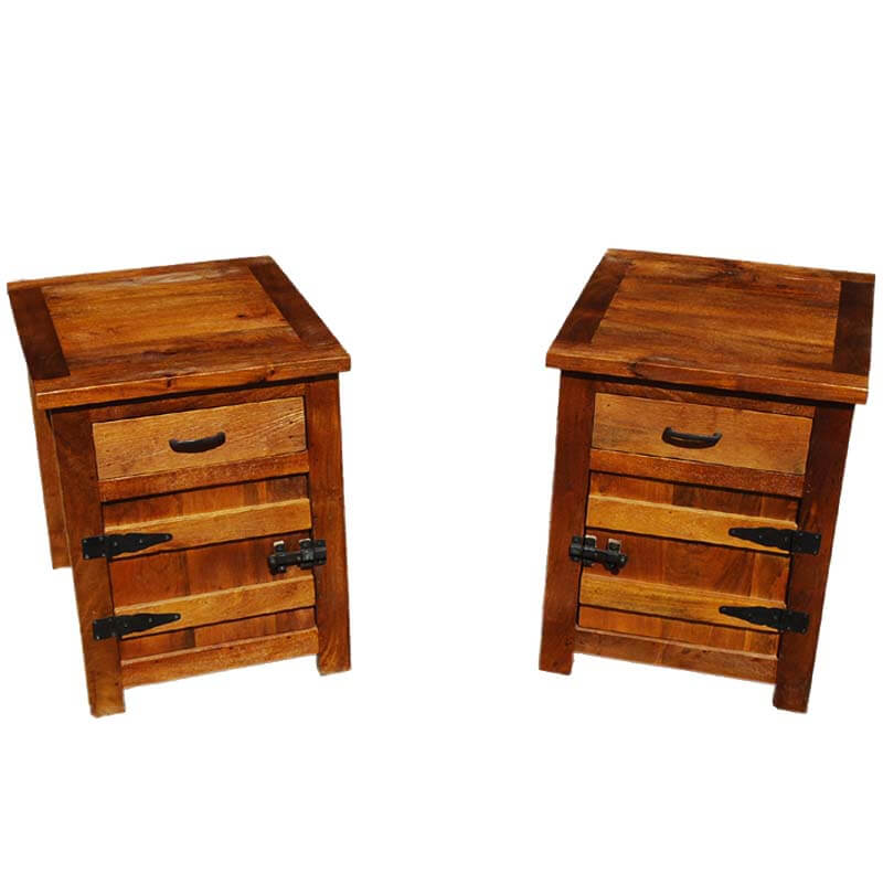 Solid Wood Bedside Box Night Stand End Table Twin Set (Set of 2)