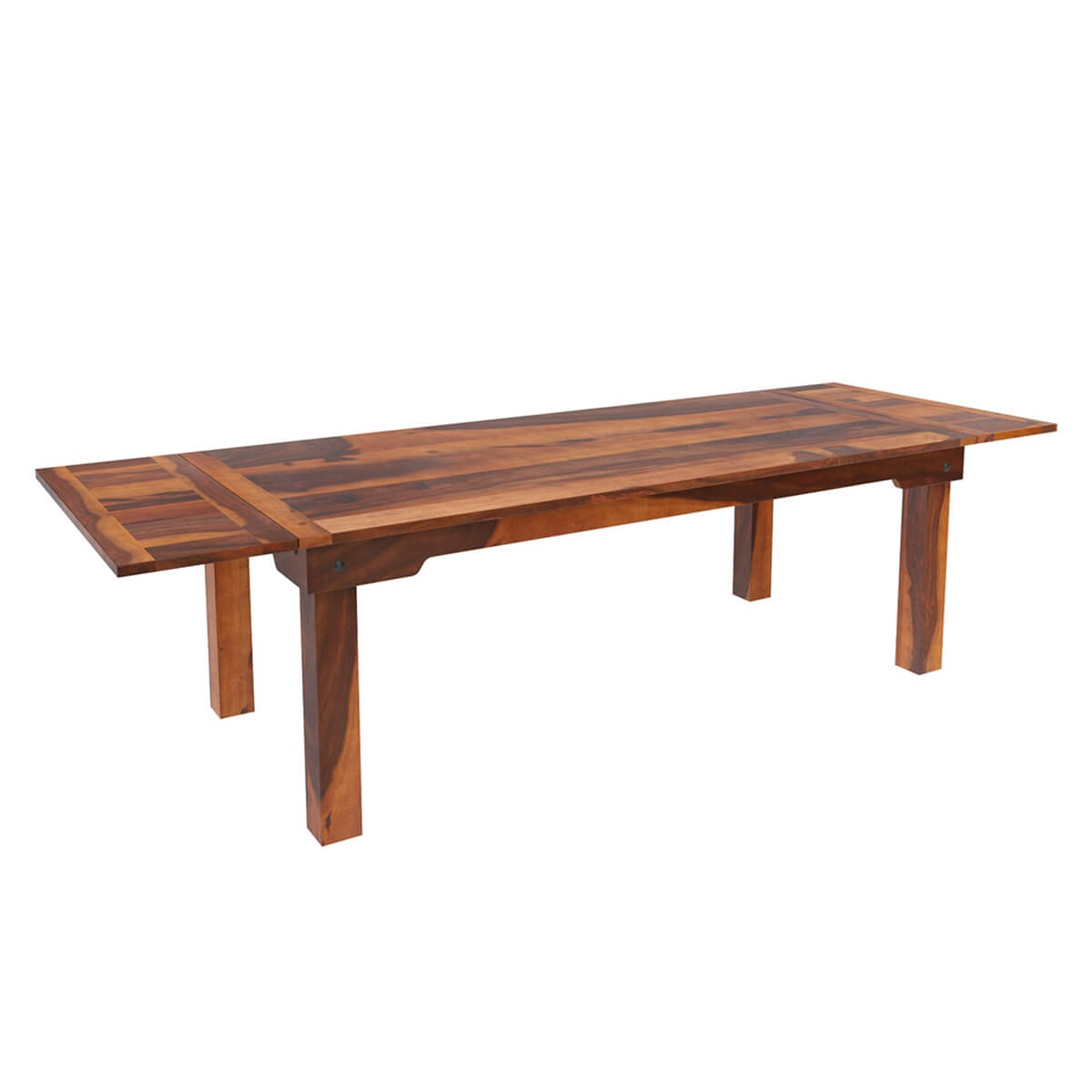 Cariboo Solid Wood Transitional Rustic Dining Table w Extensions