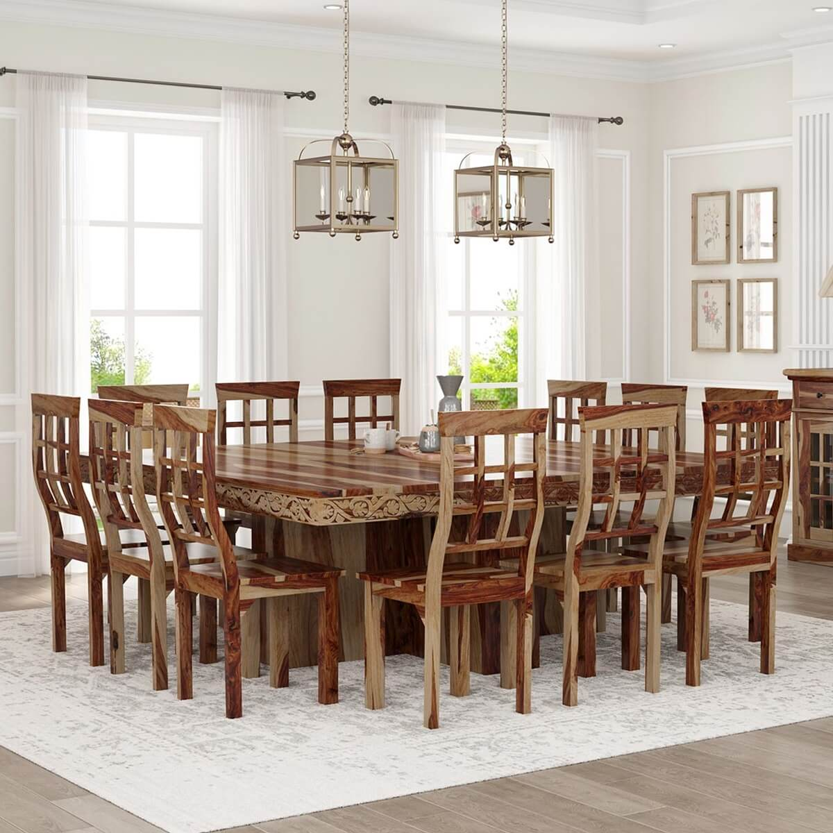 Dallas Ranch Large Square Dining Room Table and Chair Set For 12. Hover to zoom  sc 1 st  Sierra Living Concepts & Dallas Ranch Large Square Dining Room Table and Chair Set For 12